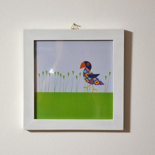 Recznie wykonana ramka z obrazkiem Papuga